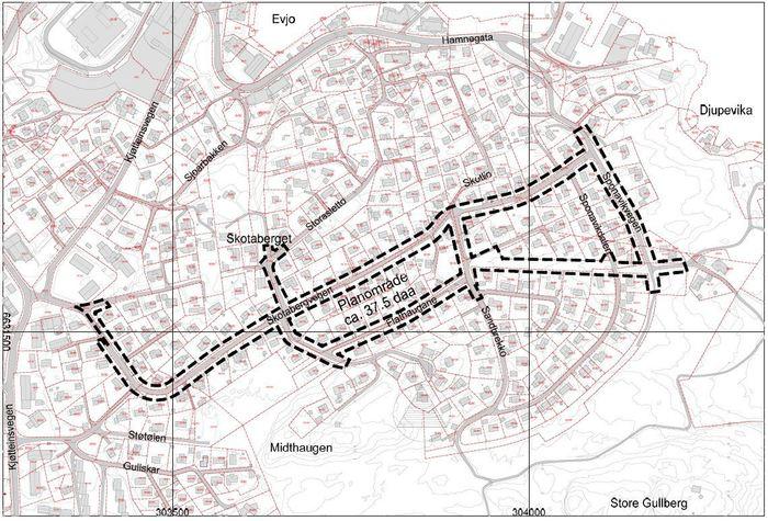 Kart som syner planavgrensing