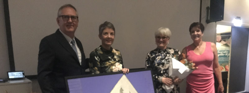 På bilde Svein Ottesen Sparebanken Vest, Karina Stokke Mæhle og Aud Lillian Hansen, Stord Hotell og Anne-Grete Sandtorv, Stord Næringsråd-foto