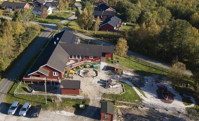 Marielund barnehagebygg sett fra luften