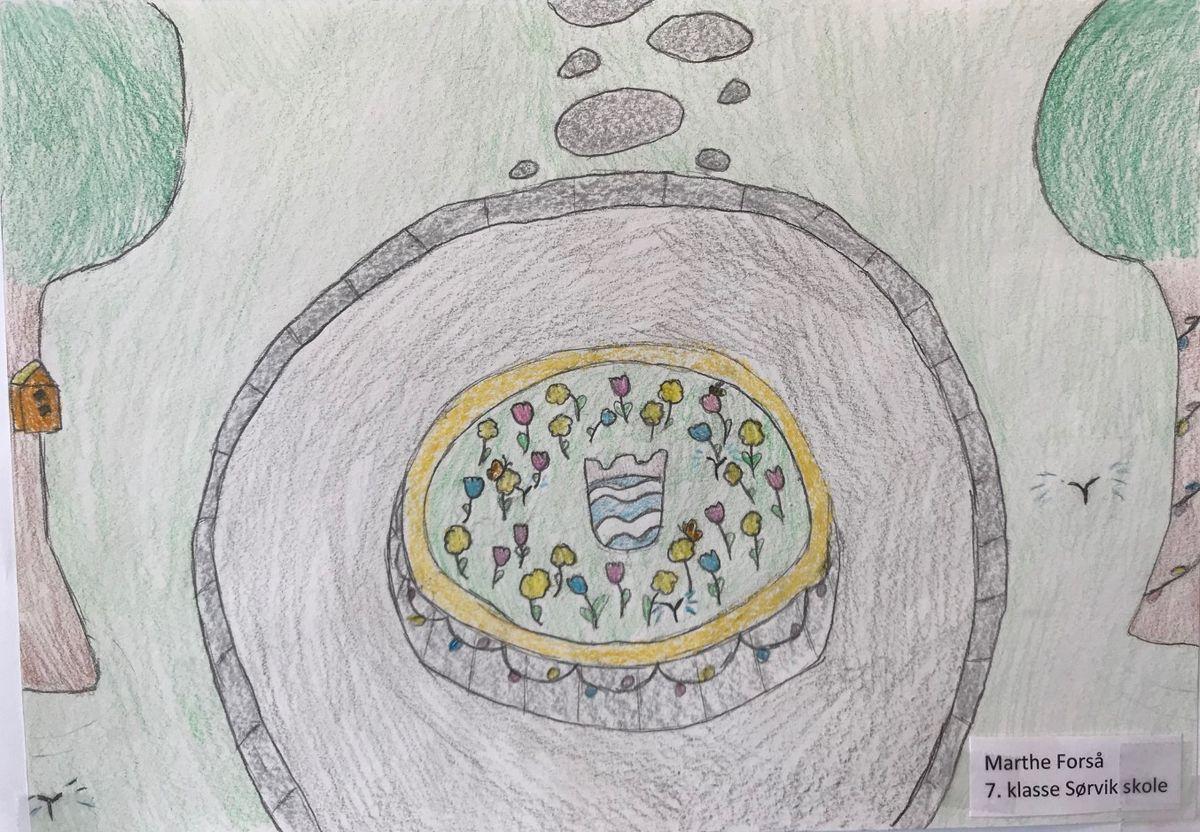 Tegning av Marthe Forså, 7. klasse på Sørvik skole.