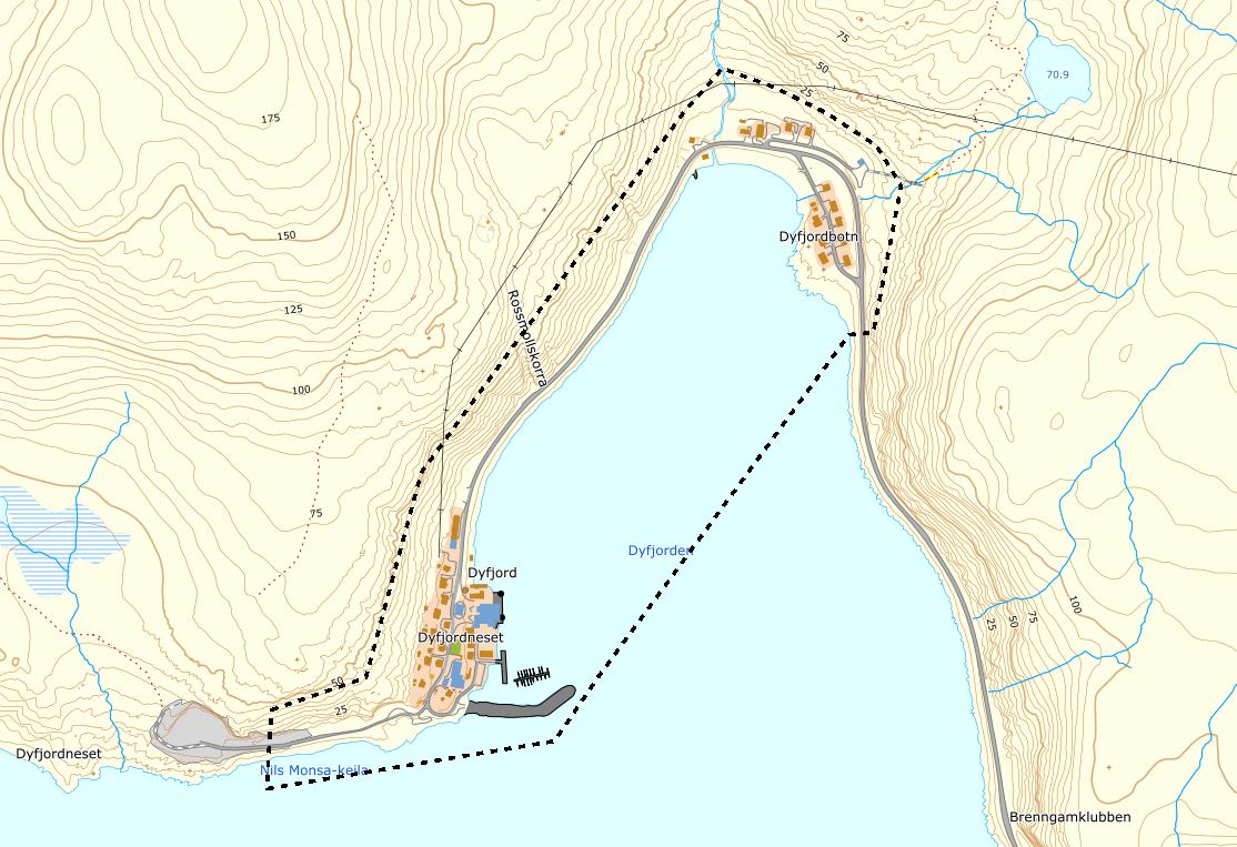 Omriss kart reguleringsplan Dyfjord