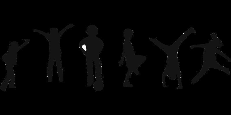 svart kvit teikna figurar som gjer ulike aktivitetar
