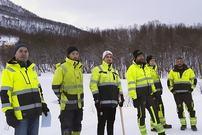 Arbeidsgjeng oppgradering av lys i lysløypa Tromsdalen