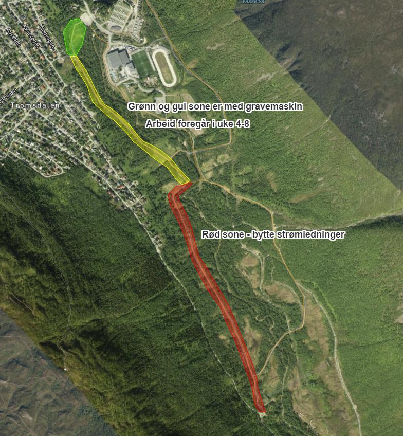 Oversikt 124 nye lyspunkt i Tromsdalen lysløype