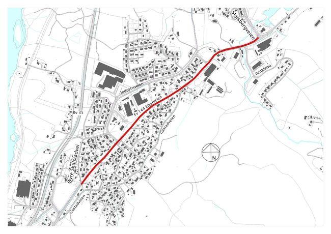 Oversiktskart gang og sykkelvei