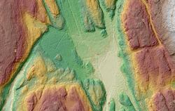 Laserskanning av terreng gir god oversikt over grøftene i myra, og er et viktig verktøy i planlegging av arbeidet. Her ses Søndre Fjøsmåsan.