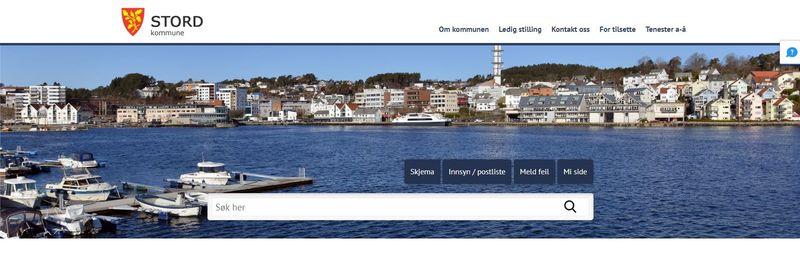 skjermbilete av Stord kommune si heimeside