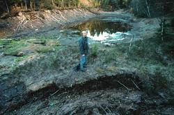 Slik så det ut i Puttjern da lekkasjene til Romeriksporten var på sitt verste i 1997-98. Foto: Steinar Saghaug.