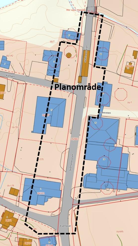 Planområde Sentrumsgata Evenskjer