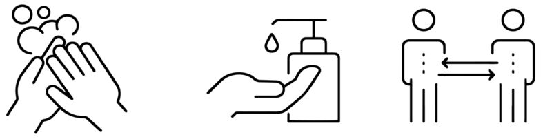 Hender som vaskar seg, desinfeksjonsdispenser med hand under og to folk med 1 meter mellom seg
