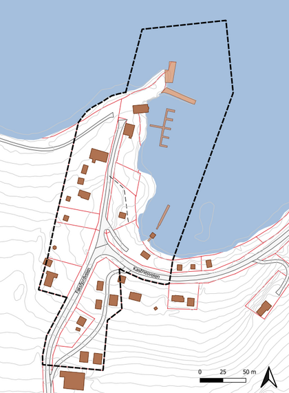 Figur 1 - Planområdets avgrensning i sort stiplet linje