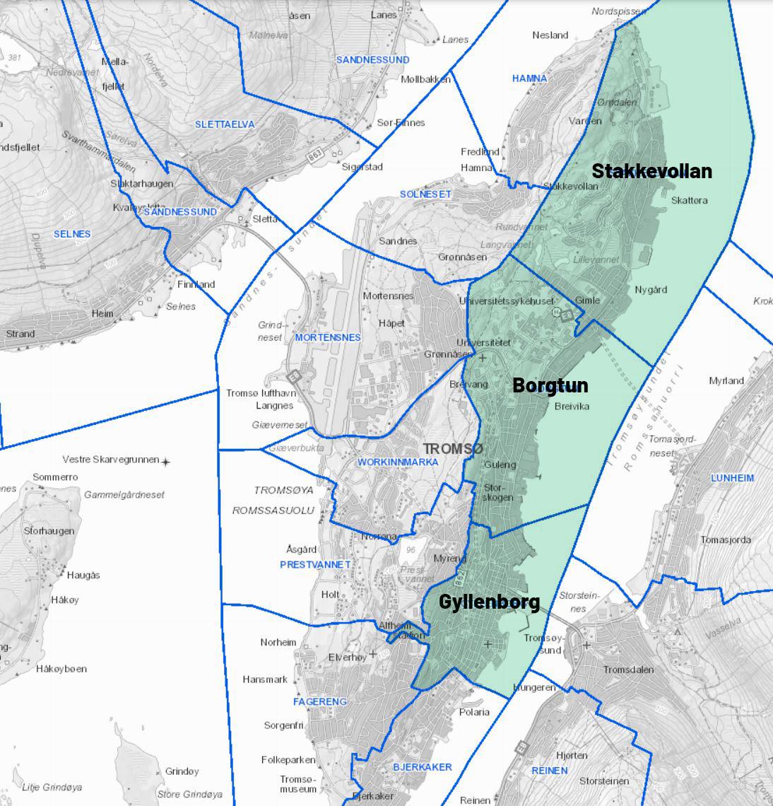 Kart over Tromsøya med skolekretsene; Sentrum, Borgtun og Stakkevollan
