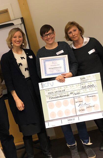 Vinnerne av FAU-prisen 2018 er Bjørdalen FAU. Premien er et diplom og en sjekk pålydende 10.000 kr.