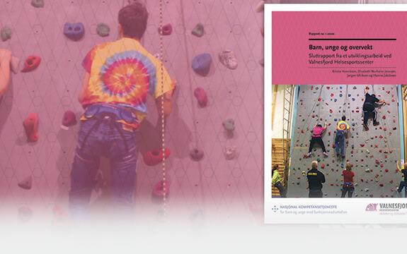 ingressbilde til rapporten barn, unge og overvekt som viser barn i klatrevegg