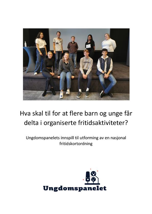 Omslagsbilde til Ungdomspanelets innspill til utforming av en nasjonal fritidskortordning. Foto: Miriam Pulsson Kramer