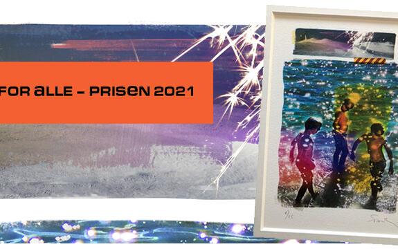 Ingressbilde til artikkel om Fritid for alle- prisen 2021. Bildet viser teksten Fritid for alle- prisen 2021 over et bilde av tre gutter som bader som gis til prisvinnerne.