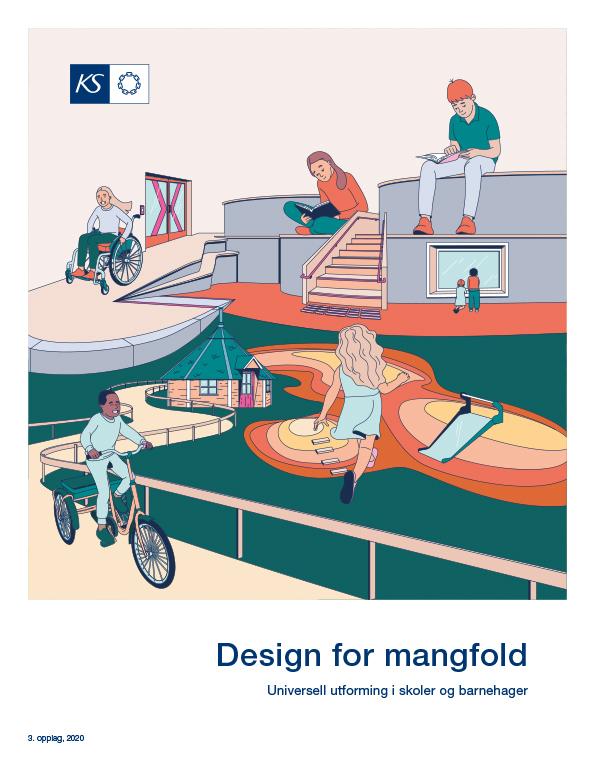 Hefte om universell utforming som heter «Design for mangfold - universell utforming i skoler og barnehager»