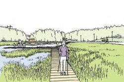 Grønmo-visjonen inneholder også et våtmarksområde med beplantninger, utemøbler og gangveier. Illustrasjon: Nytt liv til Grønmo.