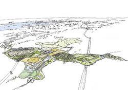 Denne illustrasjonen viser Grønmo-parken i fugleperspektiv, med Oslofjorden i bakgrunnen. Illustrasjon: Nytt liv til Grønmo.