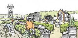 Hageparseller og skolehage er en del av visjonen for den planlagte friluftsparken på Grønmo. Illustrasjon: Fra Oslo kommunes hefte «Nytt liv til Grønmo».