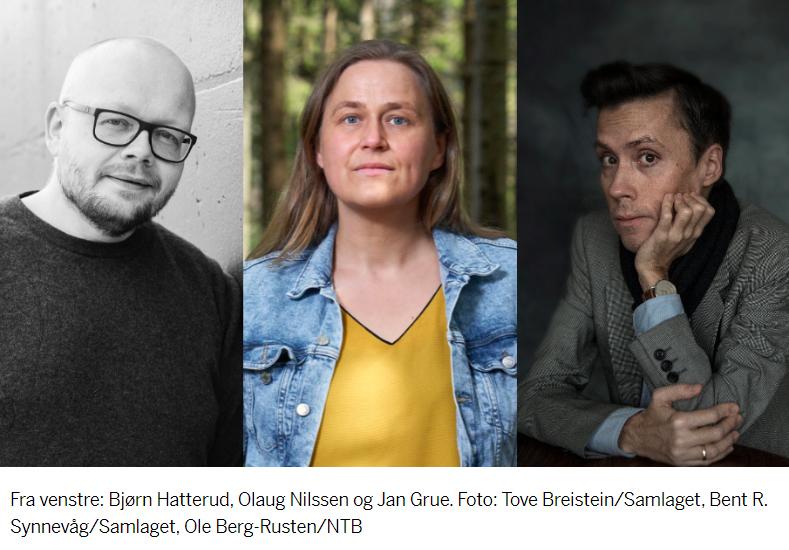 Bilde som viser vinnerne av Fritt Ords pris. Fra venstre: Bjørn Hatterud, Olaug Nilssen og Jan Grue. Foto: Tove Breistein/Samlaget, Bent R. Synnevåg/Samlaget, Ole Berg-Rusten/NTB