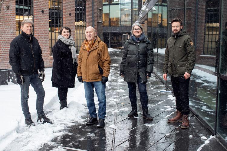 KULTURRÅDET: Her er styret i nye Drammen Kulturråd: f. v.: Hans Martin Øien, Katrine Smemo Granlund, Magnar Bergo, Ingvill Hafskjold og Magnus Aannestad Oseth.