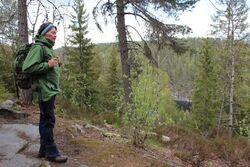 Lise Henriksen på tur med Myhr i Rausjømarka: Her beundrer hun utsikten mot Deliseterfjorden og Bøvelstadnabben.
