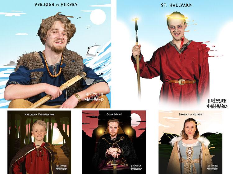 Enkelte av hovedrolleinnhaverne i stykket om St. Hallvard.