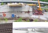 Når fundamentet er klart trilles den prefabrikkerte undergangen på plass som vist på bildet i rammen. Støping av kulverten er i full gang på tomta mellom Drammensbanen og E18.
