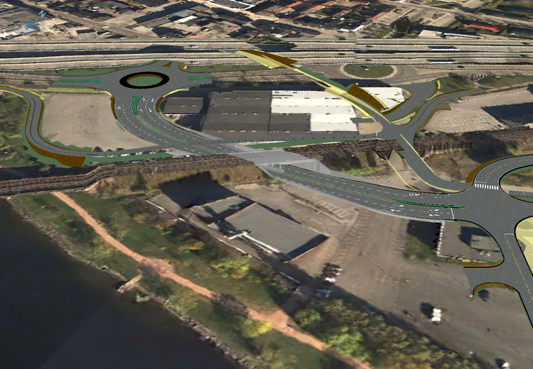 Denne 3D-illustrasjonen viser hvordan ny firefelts vei og jernbaneundergang skal knyttes på eksisterende veinett.