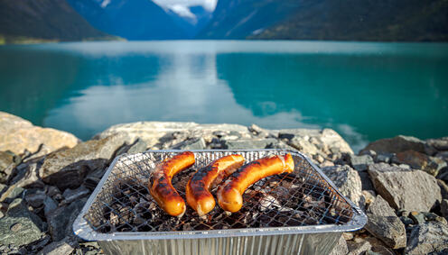 grilling-sausages-on-disposable-barbecue-grid-C7QTBFJ