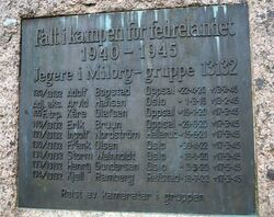 Bautaen bærer en plakett med navnene på de ni Milorg-jegerne.
