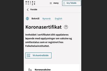 Illustrasjonbilde koronasertifikat, skjermdump fra helsenorge.no