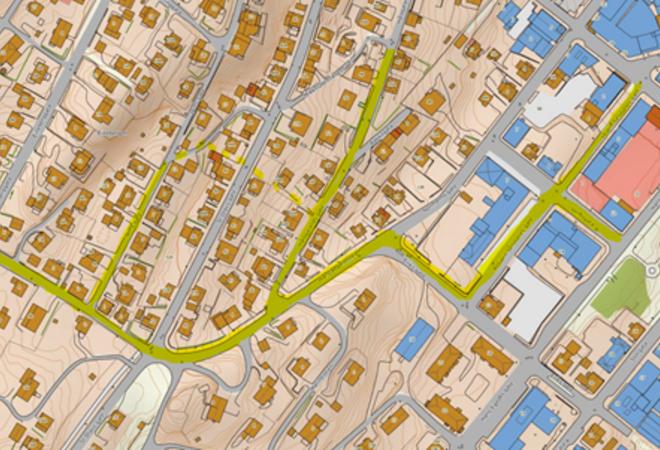 Figur 1 Kartutsnittet viser gatene/traseene merket med gult som berøres av vann- og avløpsfornyelse.