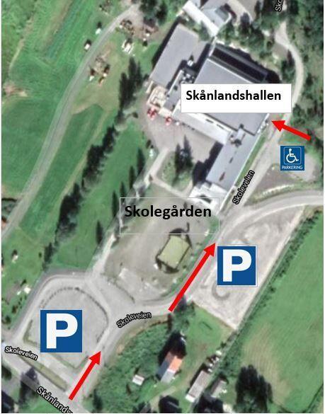 Oversiktsbilde adkomst Skånlandhallen
