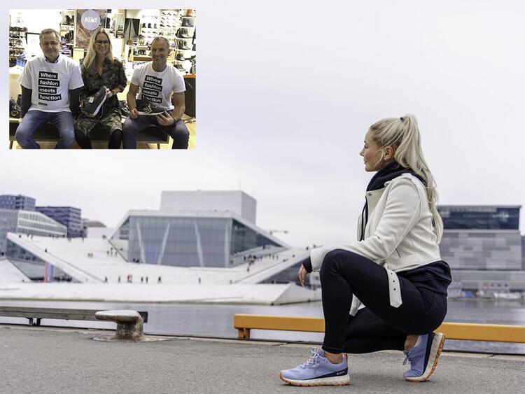 Drammenslærer Mia Helene Mathisen (stort bilde) jobber også litt som modell for de nye skomerkene til ZDC Footwear.  Alf Morten Bakken (t.v.) og Tom Stiansen (bilde innfelt) på et kundearrangement.
