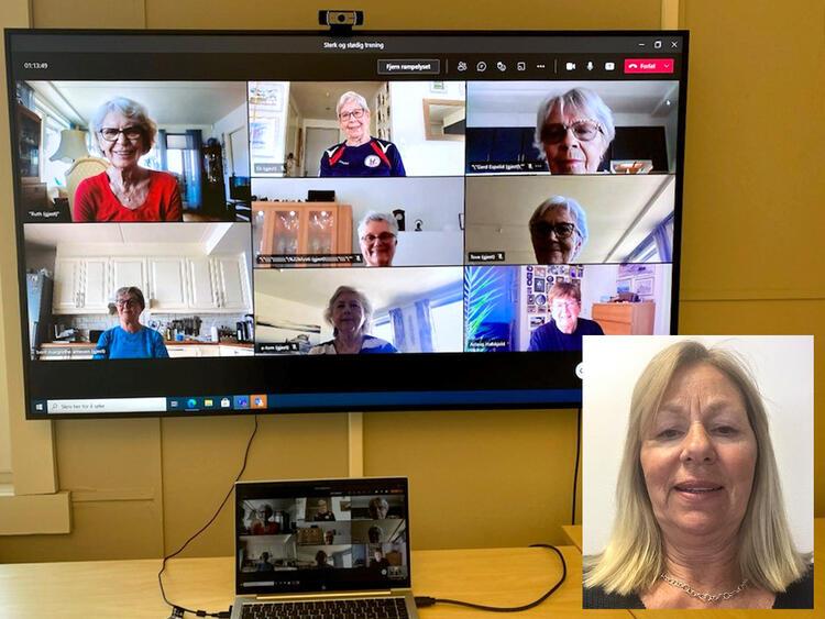 Her er en blid treningsgjeng samlet på skjermen. Fylkessekretær i Pensjonistforbundet Buskerud, Gro Renstrøm Moen (innfelt), mener at digital trening for eldre har kommet for å bli.