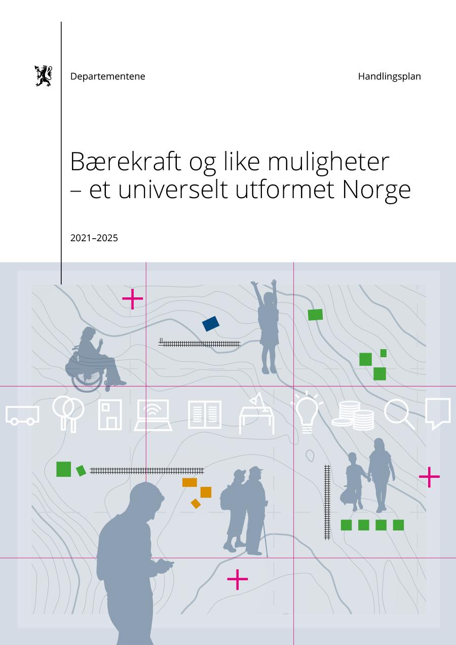 Omslagsbilde til handlingsplanen Bærekraft og like muligheter – et universelt utformet Norge 2021-2025