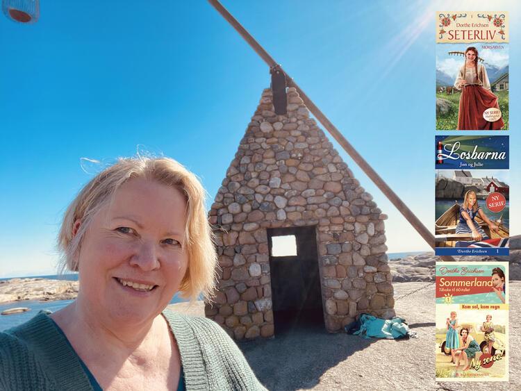 Dorthe Erichsen er utdannet cand.mag. og har arbeidet som forlagsredaktør og oversetter. Hun har tidligere skrevet romanseriene Losbarna og Seterliv. Dorthe er bosatt i Drammen, men kjenner Tjøme godt fra alle somrene på hytta i oppveksten.