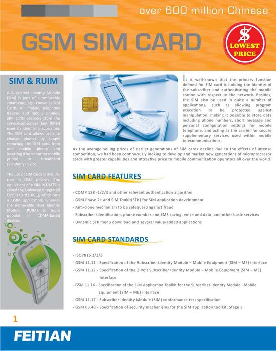 GSM SIM Card Brochure